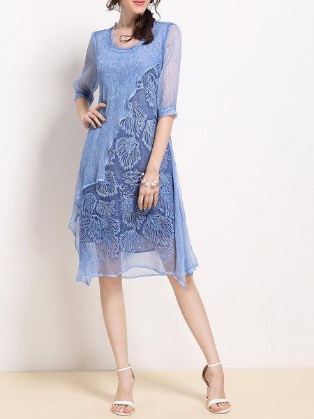 Silk Scoop Neckline Vintage Style Half Sleeve Two Piece Holiday Dress
