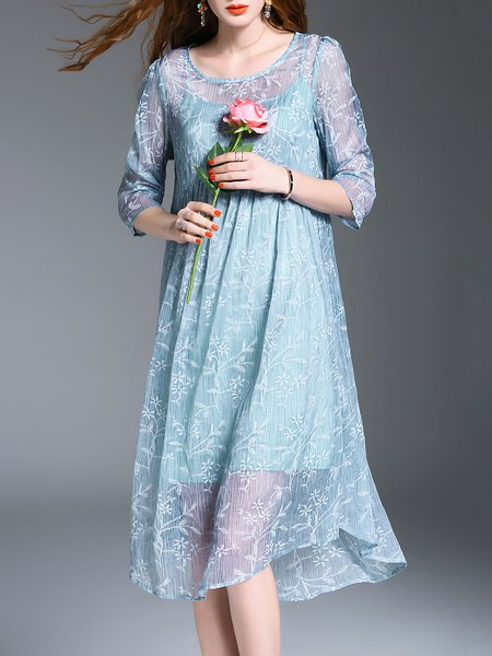 3/4 Sleeve Floral-embroidered Crew Neck Floral Midi Dress
