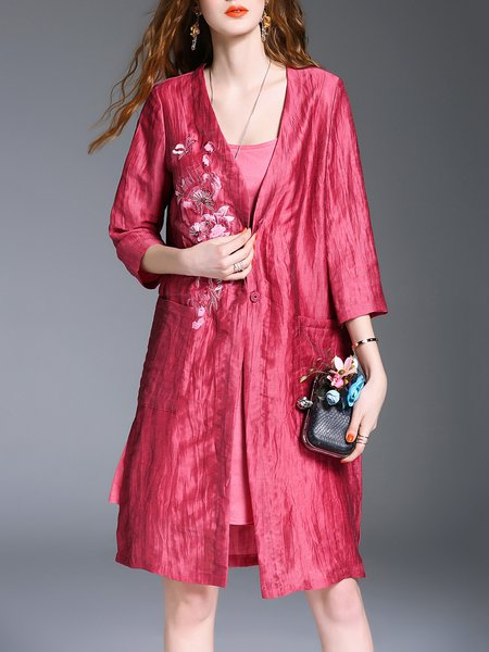 Floral-embroidered Casual 3/4 Sleeve A-line Coat