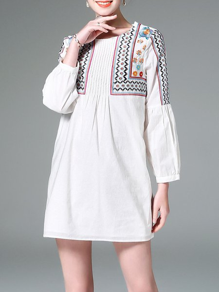 Vintage Floral-embroidered Cotton-blend Long Sleeve Mini Dress