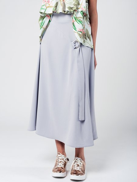 Light Gray Paneled Casual Solid Maxi Skirt