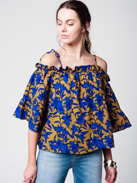 Multicolor Shift Floral-print Cold Shoulder Spaghetti Blouse