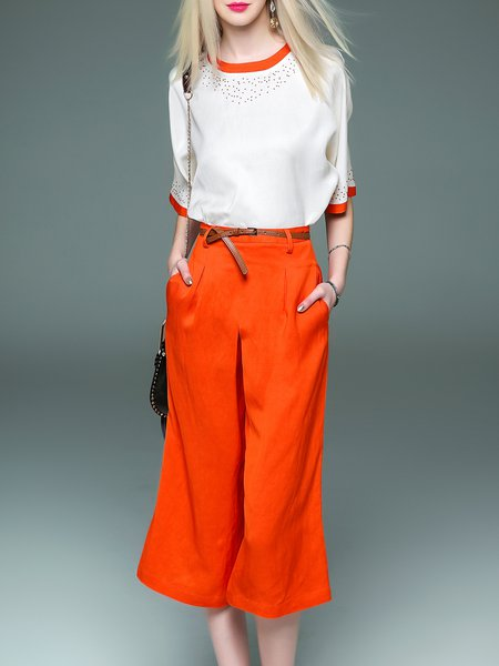 Orange Polyandrum Two Piece Half Sleeve Jumpsuit with Belt