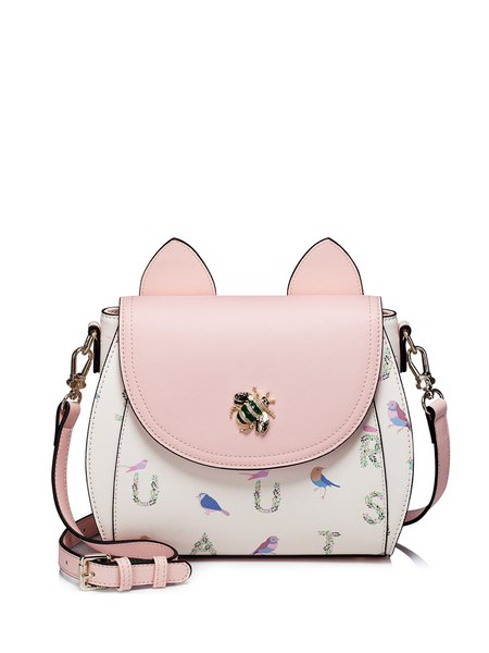 Pink Magnetic Printed PU Sweet Crossbody with Decorated Insect