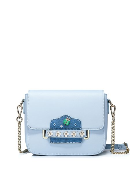 Light Blue Magnetic Sweet Tuck-in flap Crossbody Bag with Embellished Insect