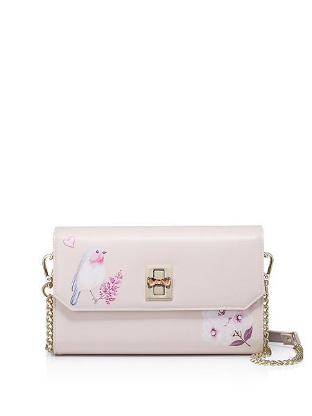 Pink PU Sweet Bow Twist Lock Crossbody Bag