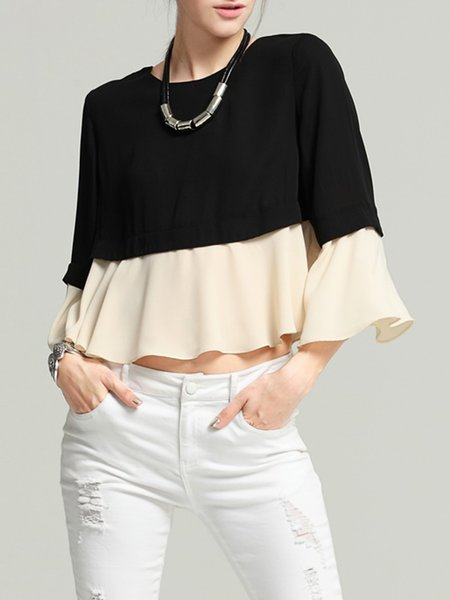 Black Color-block Casual Flounce Crew Neck Cropped Top