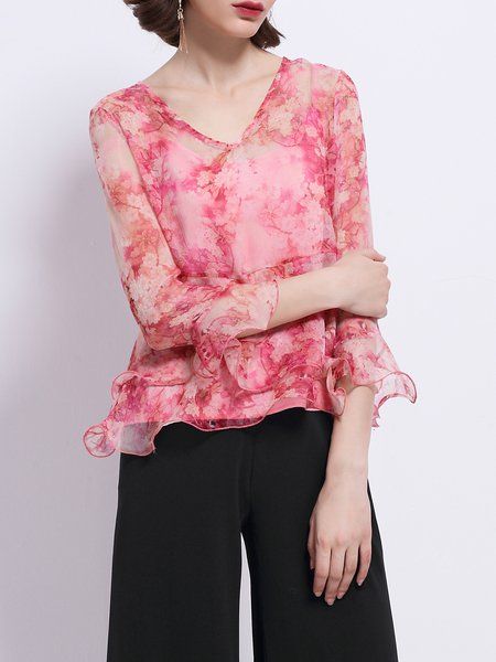 Frill Sleeve Floral-print Silk Girly V Neck Tops