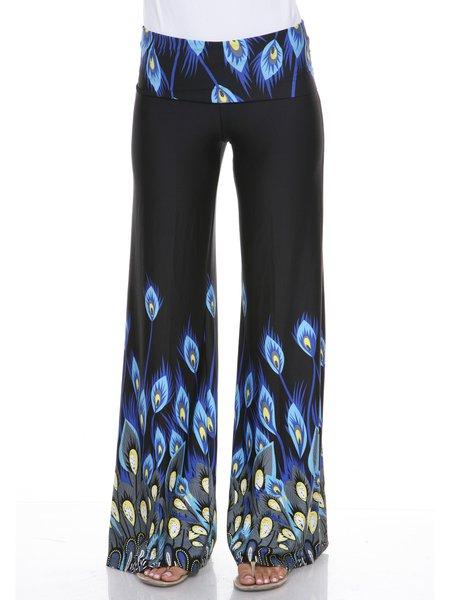 Black-blue Boho Peacock Print Wide Leg Pants