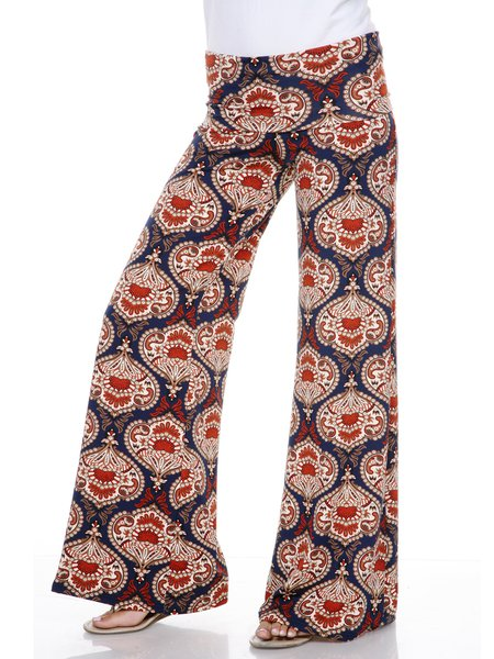 Burgundy-navy Boho Tribal Printed Rayon Wide Leg Pants