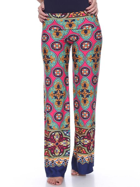 Fuchsia-green Tribal Print Boho Rayon Wide Leg Pants
