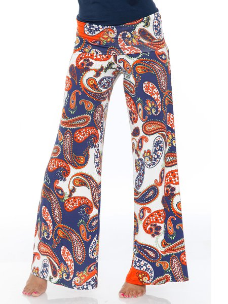 Orange-Navy Paisley Rayon Printed Boho Wide Leg Pants