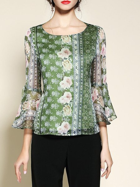 Crew Neck Girly H-line Floral-print Frill Sleeve Blouse