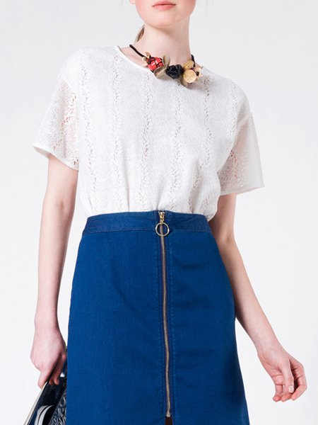 White Floral Guipure Lace Short Sleeve Cropped Top