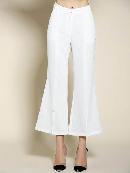 White Casual Solid Polyester Slit Flared Pants