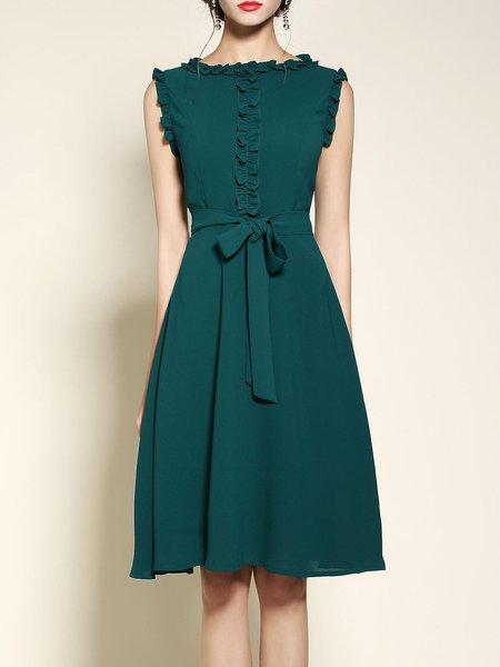 Green Crew Neck Girly Sleeveless Bow Midi Dress