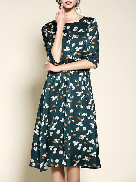 Dark Green 3/4 Sleeve Floral Floral-print Midi Dress