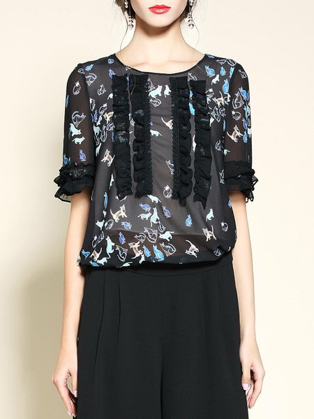 Black Polyester Floral-print Frill Sleeve Crew Neck Blouse