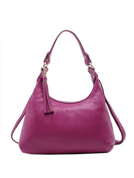 Solid Full-grain Leather Simple Zipper Shoulder Bag