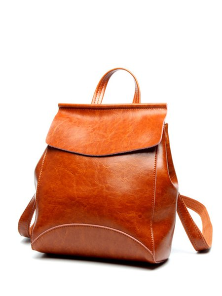 Solid Zipper Full-grain Leather Simple Backpack