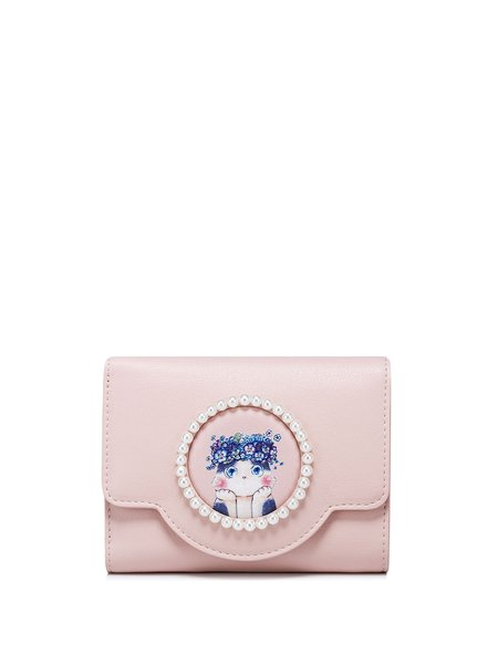 Mini Pink Beaded Printed Magnetic Sweet Wallet