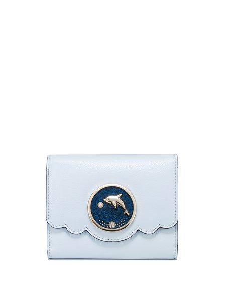 Mini Sky Blue Snap Ruffled PU Sweet Wallet