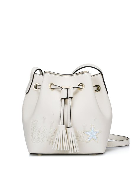 Cream Beaded PU Sweet Drawstring Bucket Crossbody Bag