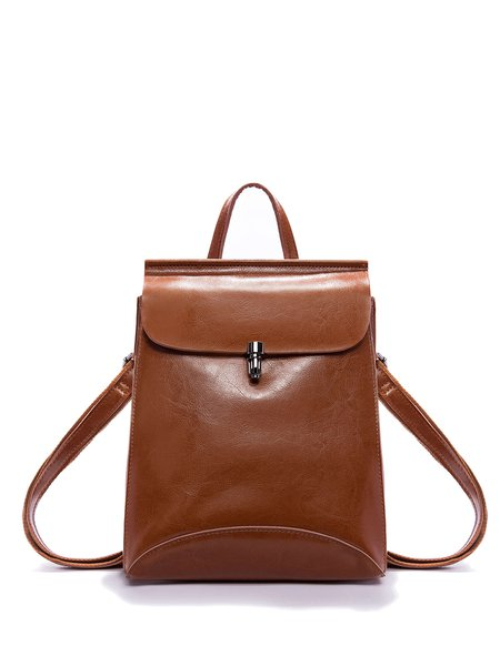 Large Brown Solid Full-grain Leather Push Lock Simple Backpack