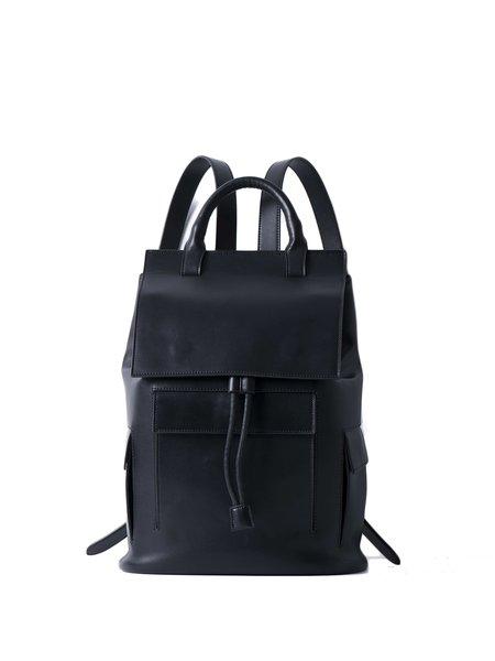 Large Black Split Leather Magnetic Backpack
