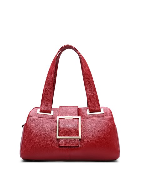 Large Casual Full-grain Leather Magnetic Shoulder Bag