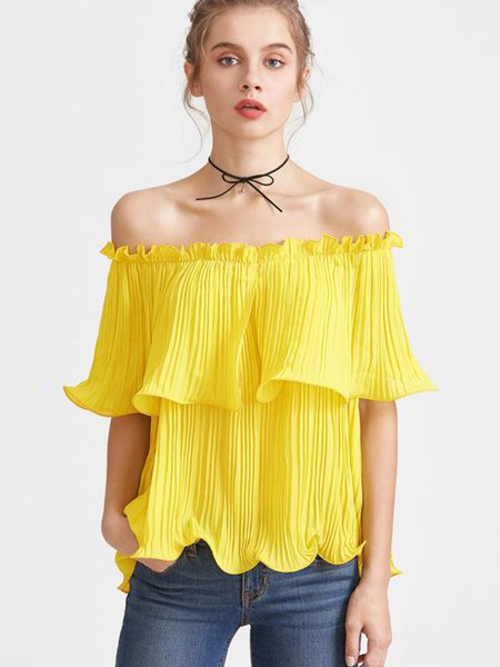 Yellow Frill Sleeve Off Shoulder Shift Pleated Tunic