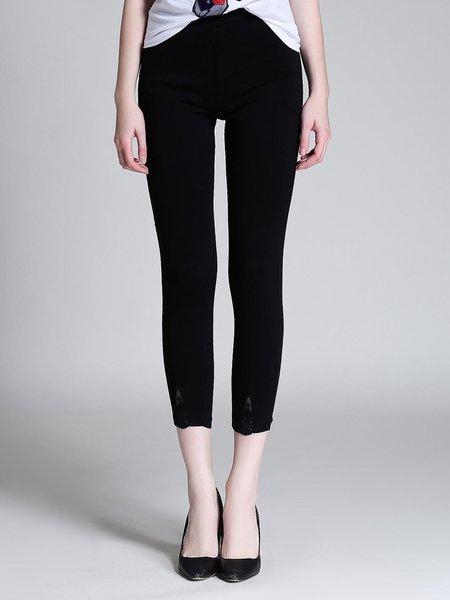 Black Solid Cotton Simple Bodycon Leggings