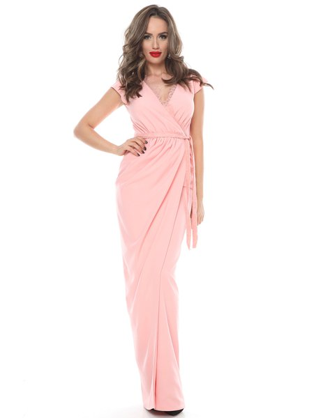 Pink Surplice Neck Elegant Solid Sleeveless Draped Tulip Evening Dress
