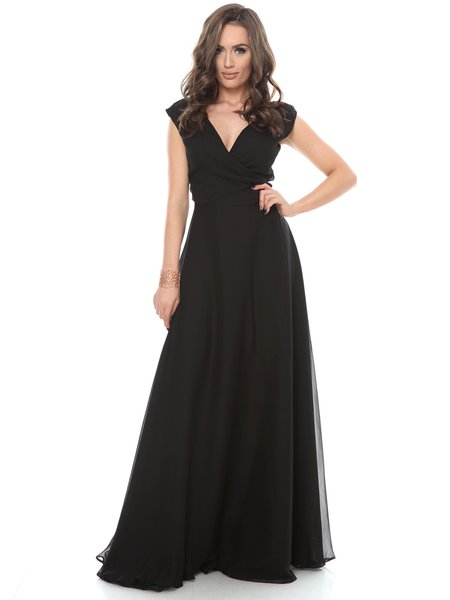 Black Surplice Neck Ball Gown Silk Elegant Evening Dress