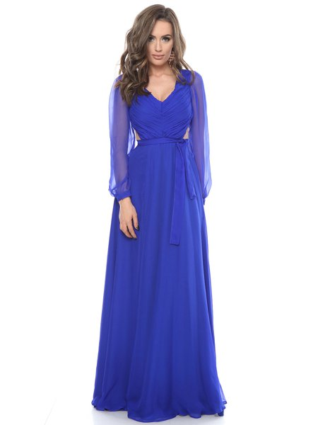 Royal Blue Solid Ruched Ball Gown Elegant Silk Evening Dress