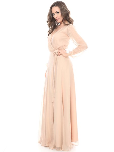 Cream Long Sleeve Paneled Surplice Neck Solid Silk Gown Evening ...