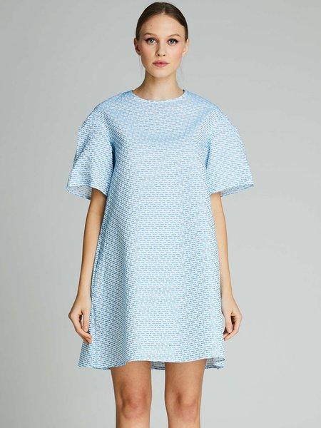 Light blue Midi Dress Shift Daily Short Sleeve Cotton Dress