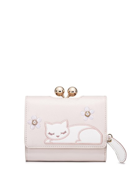 Mini Pink Sweet Snap PU Wallet with Cat Embroidery