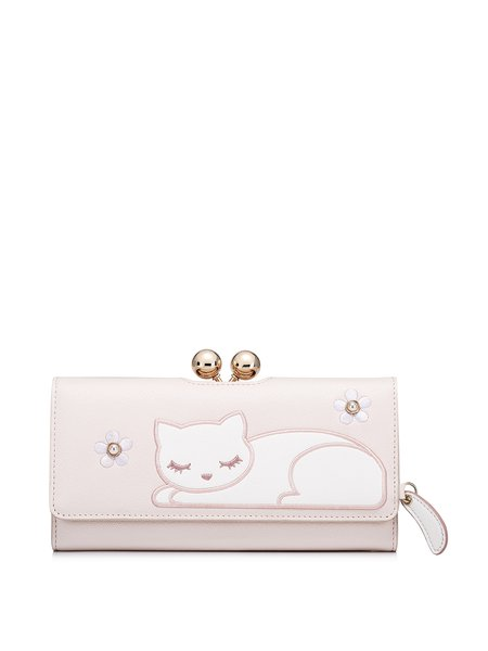 Pink Sweet Snap Wallet with Cat Embroidery