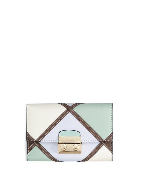 Mini Multicolor Sweet Push Lock Split Leather Wallet
