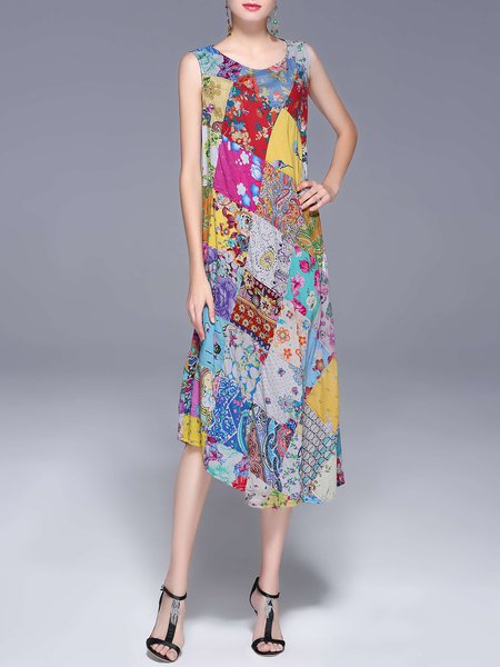 Multicolor Sleeveless Crew Neck Patchwork Cotton Holiday Dress