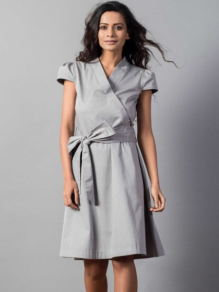 Grey Surplice Neck Solid Shorts Sleeve Casual Wrap Dress