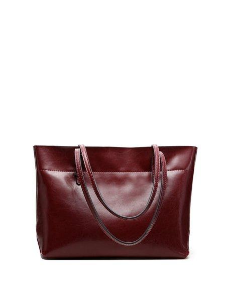 Solid Cowhide Leather Zipper Shoulder Bag