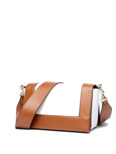 Color-block Zipper Cowhide Leather Top Handle