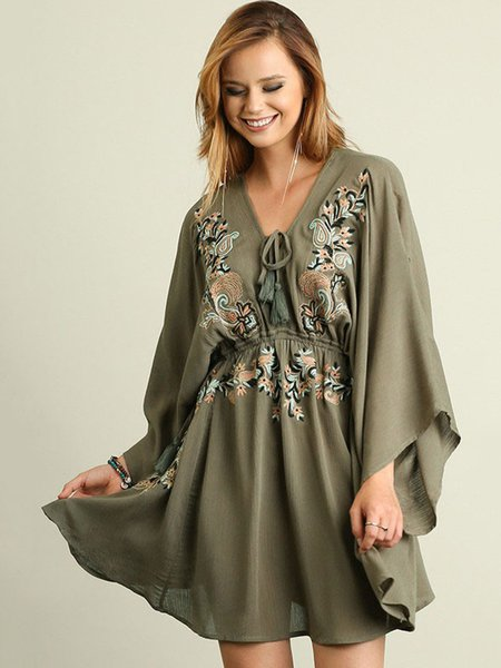 Olive Green Paisley Boho Shift Embroiedered Holiday Dress
