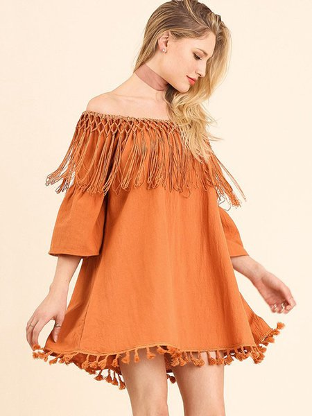 Orange Fringed Bell Sleeve Off Shoulder Holiday Dress