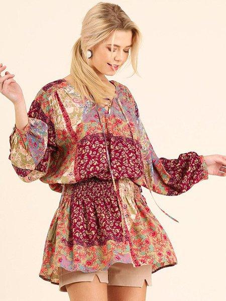 Cinched Waist V Neck Printed Long Sleeve Boho Tunic