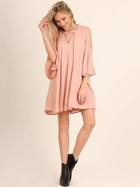 Pink Cold Shoulder Cotton-blend Keyhole Solid Holiday Dress