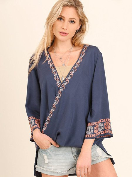 Navy Blue Printed 3/4 Sleeve Surplice Neck Kimono