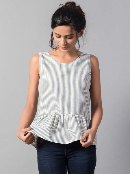 Casual Stripes Sleeveless Scoop Neckline Cotton Tank And Cami